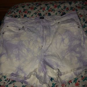 Purple washed out high rise shorts